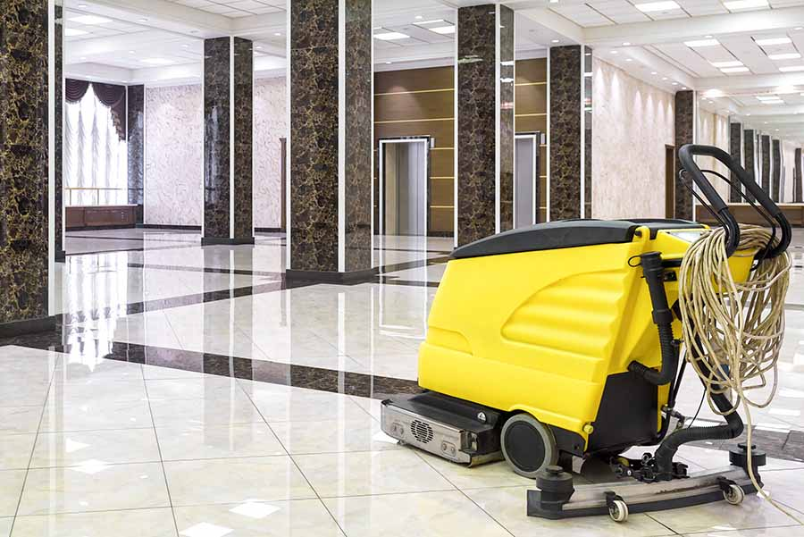 floor cleaning machine in commercial offices