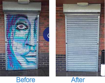 before and aftre images of graffiti on a steel shutter