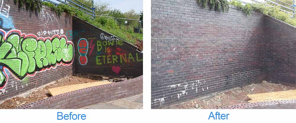 before photo of large amounts of graffiti on a wall followed by photo of the wall after graffiti cleaning services